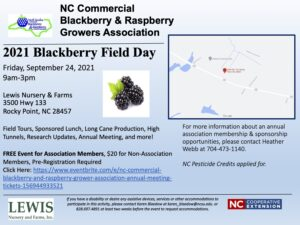 Cover photo for NC Commercial Blackberry and Raspberry Growers Association 2021 Field Day